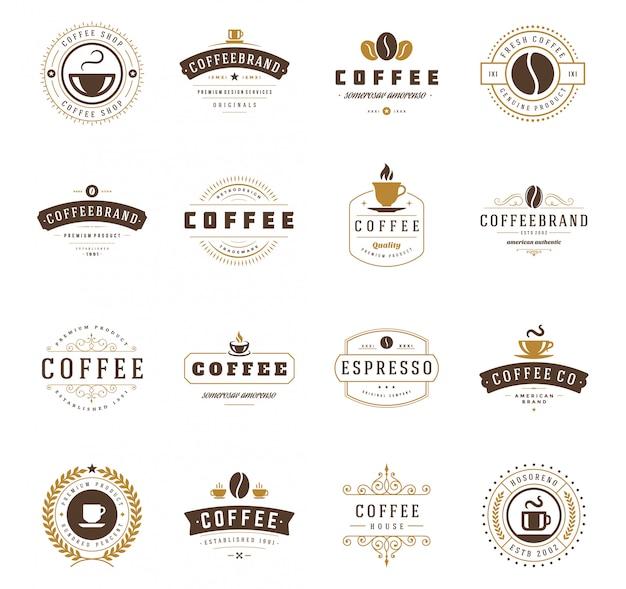Las plantillas de diseño de logotipos de cafetería establecen ilustración vectorial