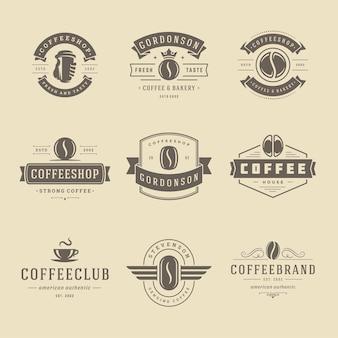 Plantillas de diseño de logotipos de cafetería establecer ilustración