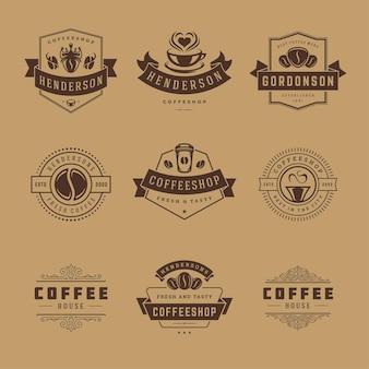Las plantillas de diseño de logotipos de cafeterías establecen la ilustración para el diseño de la insignia del café y la decoración del menú
