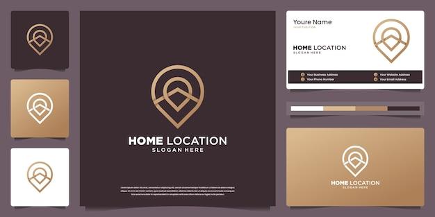 Plantillas de diseño de logotipos de lujo mínimo de ubicación de casa y diseño de tarjetas de visita