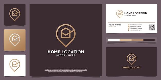 Plantillas de diseño de logotipos de ubicación de casas de lujo y diseño de tarjetas de presentación