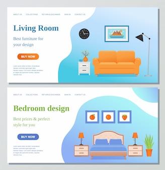 Plantillas de diseño de página web de sala de estar, dormitorio.