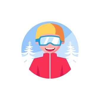 Plantillas de diseño de personajes de invierno snowboard smile
