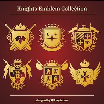 Plantillas doradas de emblemas de caballero