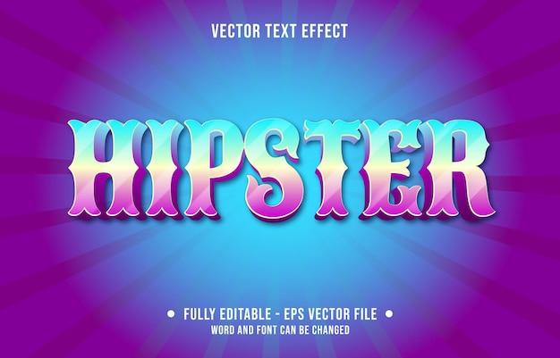 Plantillas de efecto de texto editable hipster color degradado azul púrpura estilo moderno