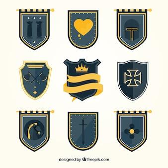 Plantillas de emblemas de caballero oscuros