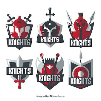 Plantillas de emblemas de caballero rojos