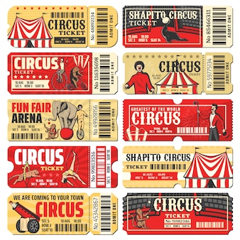 Plantillas de entradas para espectáculos de circo, chapiteau y carnaval