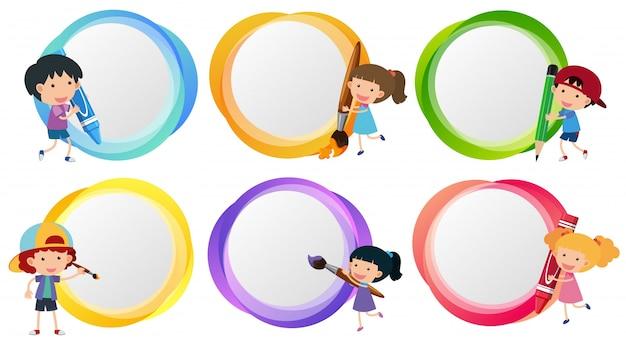 Plantillas de etiquetas con colorante para niños