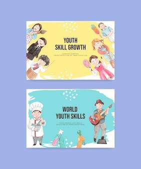 Plantillas de facebook con el concepto del día mundial de las habilidades de la juventud, estilo acuarela