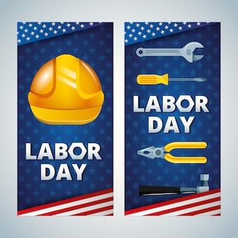 Plantillas de feliz día del trabajo con herramientas de trabajo e ilustración de casco