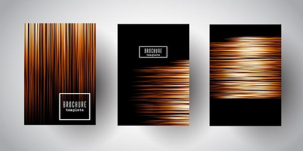 Plantillas de folleto con diseños de franjas doradas