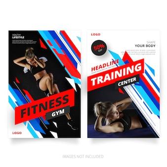 Plantillas de folleto de fitness moderno y gimnasio