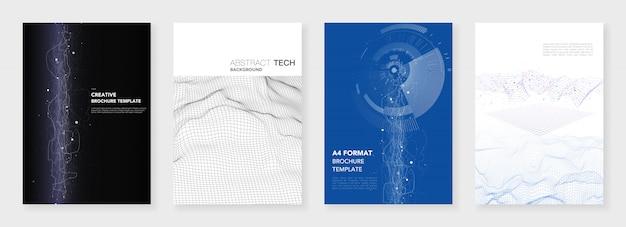 Plantillas de folleto mínimas. visualización de grandes datos con líneas y puntos. tecnología de ciencia ficción
