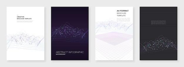 Plantillas de folleto mínimas. visualización de grandes datos con líneas y puntos.