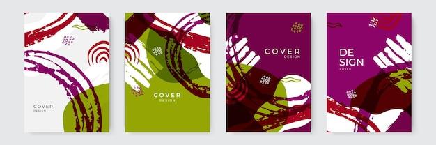 Plantillas de fondo universales de moda orgánicos abstractos elegantes. estética minimalista. conjunto de composiciones de formas orgánicas. dibujar a mano elementos de diseño abstracto en colores pastel.