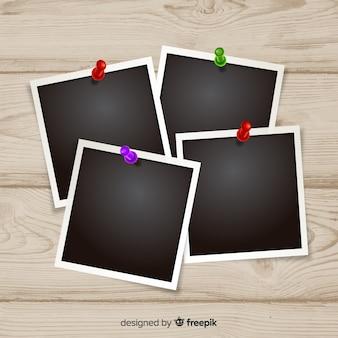 Plantillas de fotografías instantáneas sobre un fondo de madera