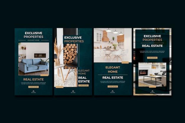 Plantillas de historias de instagram de bienes raíces planas