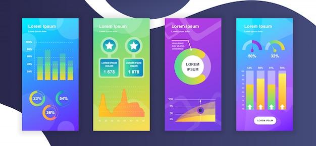 Plantillas de historias de redes sociales con visualización de datos de elementos infográficos
