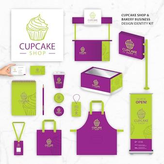 Plantillas de identidad de marca para cupcake shop