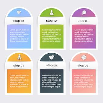 Plantillas de infografía para empresas. se puede utilizar para el diseño web del sitio web, pancartas numeradas, diagrama.