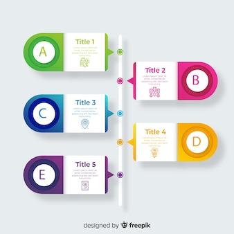 Plantillas de infografía de proceso gradiente