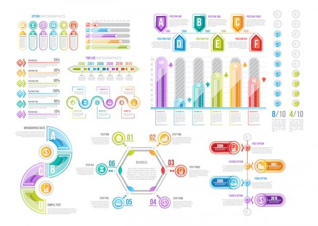 Plantillas infográficas para presentación de datos.