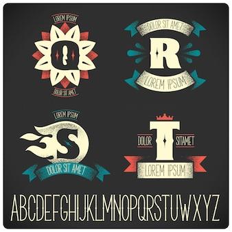 Plantillas de insignias vintage con conjunto de alfabeto