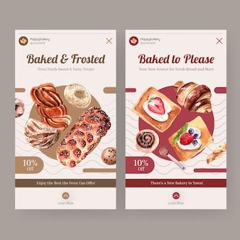 Plantillas de instagram para ventas de panadería