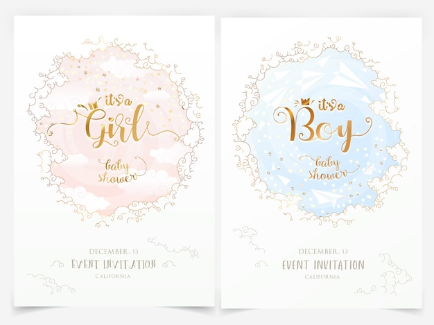 Plantillas de invitación de baby shower con nubes y es una niña, niño letras