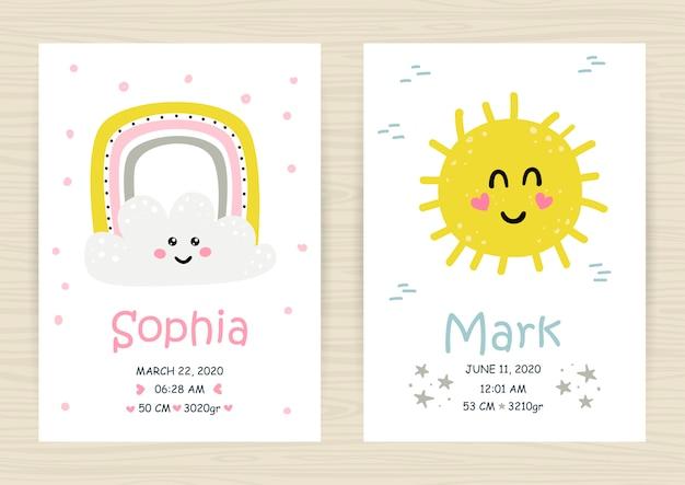 Plantillas de invitación de baby shower con rainbows