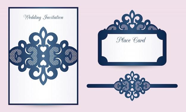 Plantillas de invitación de boda cortadas con láser: tarjeta de belly band, tarjeta de lugar.