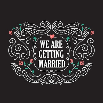 Plantillas de invitación de boda con vector de marco vintage flor