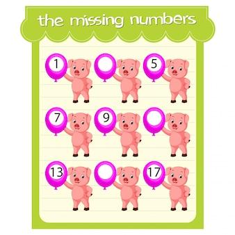 Plantillas de juego con números faltantes