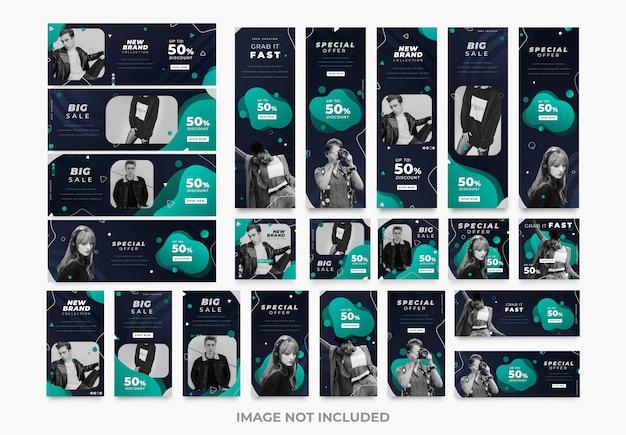 Plantillas de kit de paquete de moda de medios sociales oscuros