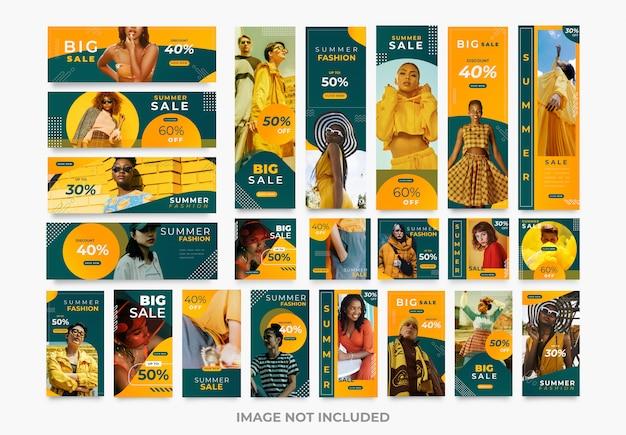 Plantillas de kit de paquete de moda de redes sociales