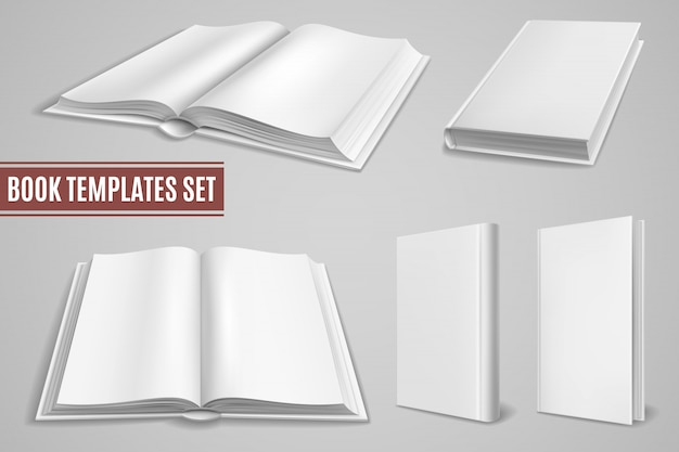 Plantillas de libro blanco. cubiertas de libros abiertos en blanco, cubiertas de folletos cerrados. libro de texto vacío con tapa dura. maquetas aisladas