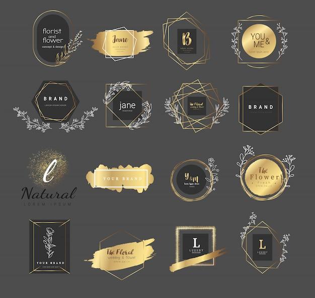 Plantillas de logos florales premium para bodas y productos.