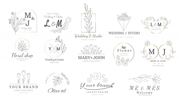 Plantillas de logos florales premium