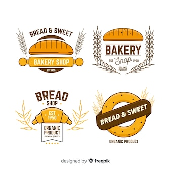 Plantillas de logos de panadería en diseño plano