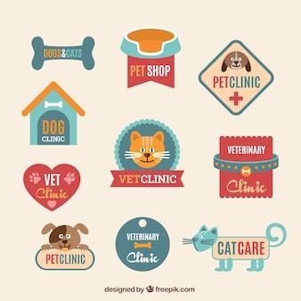 Plantillas de logos planos de clínica veterinaria