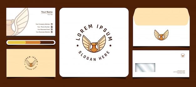 Plantillas de logotipo de águila con tarjetas de visita y diseños de sobres
