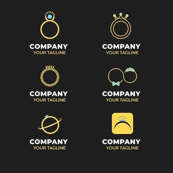 Plantillas de logotipo de anillo de diseño plano creativo