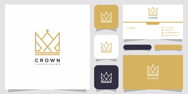 Plantillas de logotipo de corona y diseño de tarjetas de visita vector premium