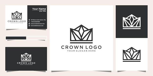 Plantillas de logotipo de corona y tarjeta de visita