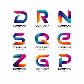 Plantillas de logotipo drn de letras modernas