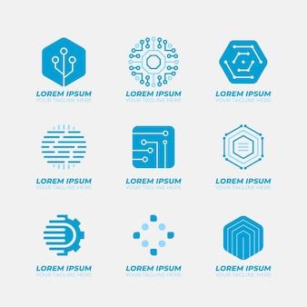 Plantillas de logotipo de electrónica de diseño plano