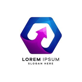 Plantillas de logotipo de empresa geométrica de crecimiento