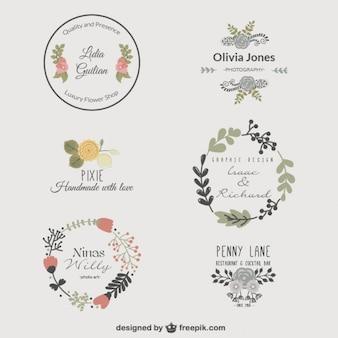 Plantillas de logotipo florales premium