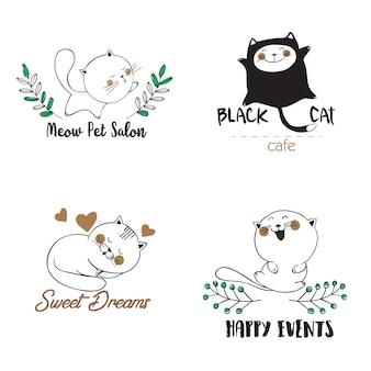 Plantillas de logotipo con gatos